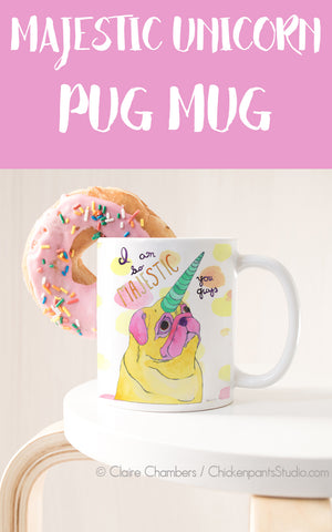 Majestic Unicorn Pug Mug
