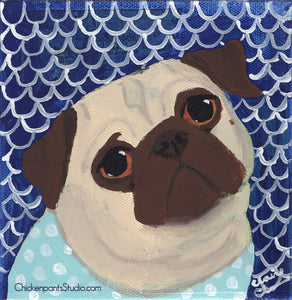 Mermaid At Heart -  Original Pug Painting