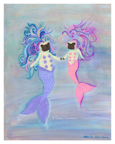 Mermaid Mama & Daughter Pug Art Print