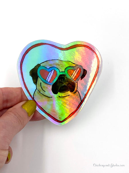Love Shades - Pug Holographic Vinyl Sticker