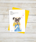 This Flower's For You - Pug Greeting Card