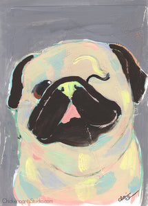Paint Party -  Original Mixed Media Pug Painting
