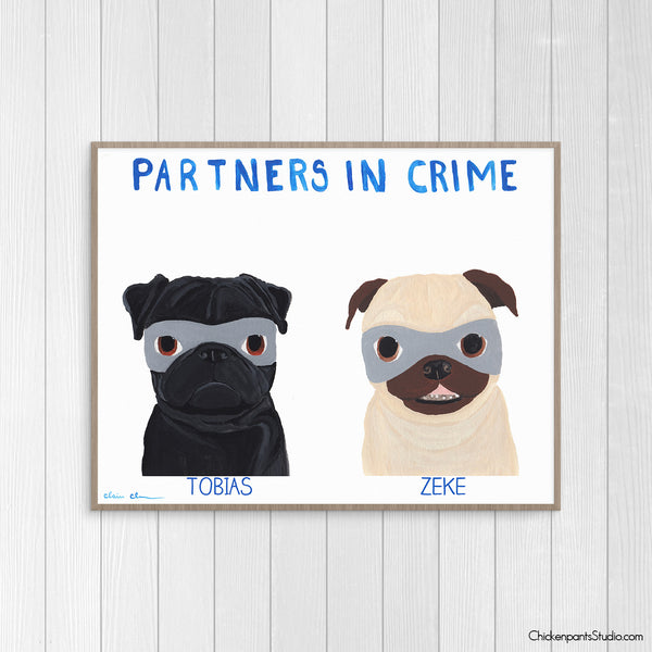 Personalized Partners In Crime Dog Art Print