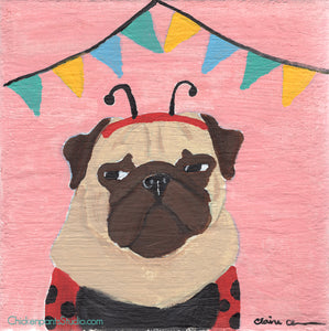Party Pooper -  Original Pug Painting