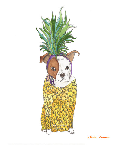 Pineapple Pit Bull Art Print