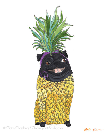 Pineapple Pug - Black Pug Art Print