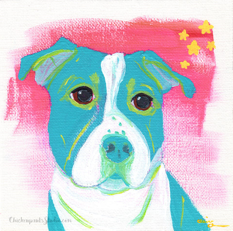 Seeing Stars - Original Pit Bull Painting