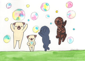 Bubbles -  Original Pug Painting