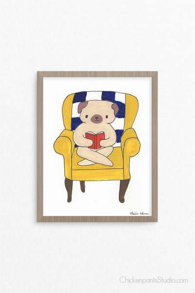 My Reading Chair - Pug Art Print