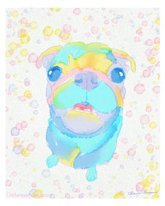 Bubbles - Pug Art Print