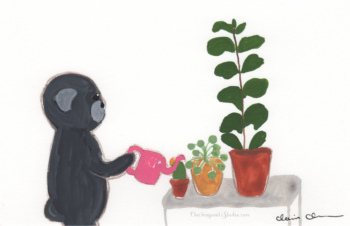 Houseplant Love -  Original Pug Painting