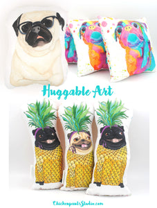 LAST ONE! Huggable Art - Pug Plush Cushions