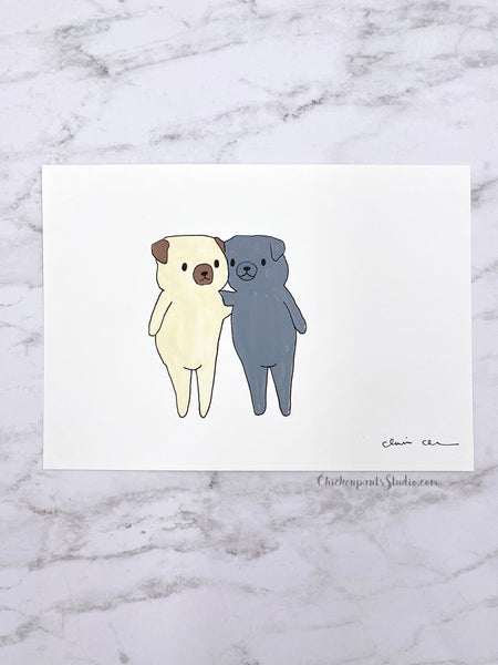 Friends -  Original Pug Painting