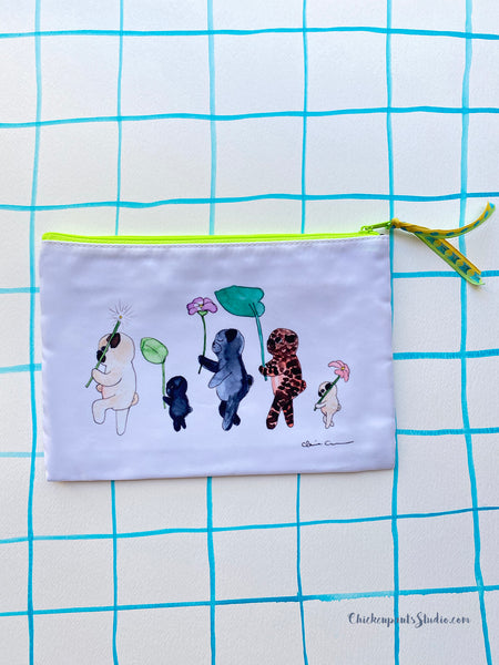 Forest Parade Pugs Zipper Pouch