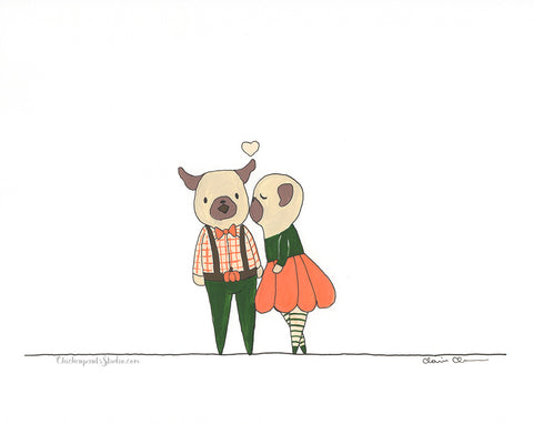 Pumpkin Couple -  Original Pug Painting