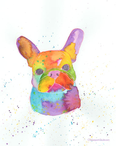 Rainbow Frenchie -  Original French Bulldog Art