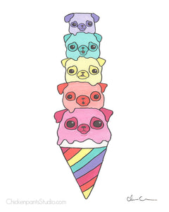 Rainbow Ice Cream Pugs Art Print