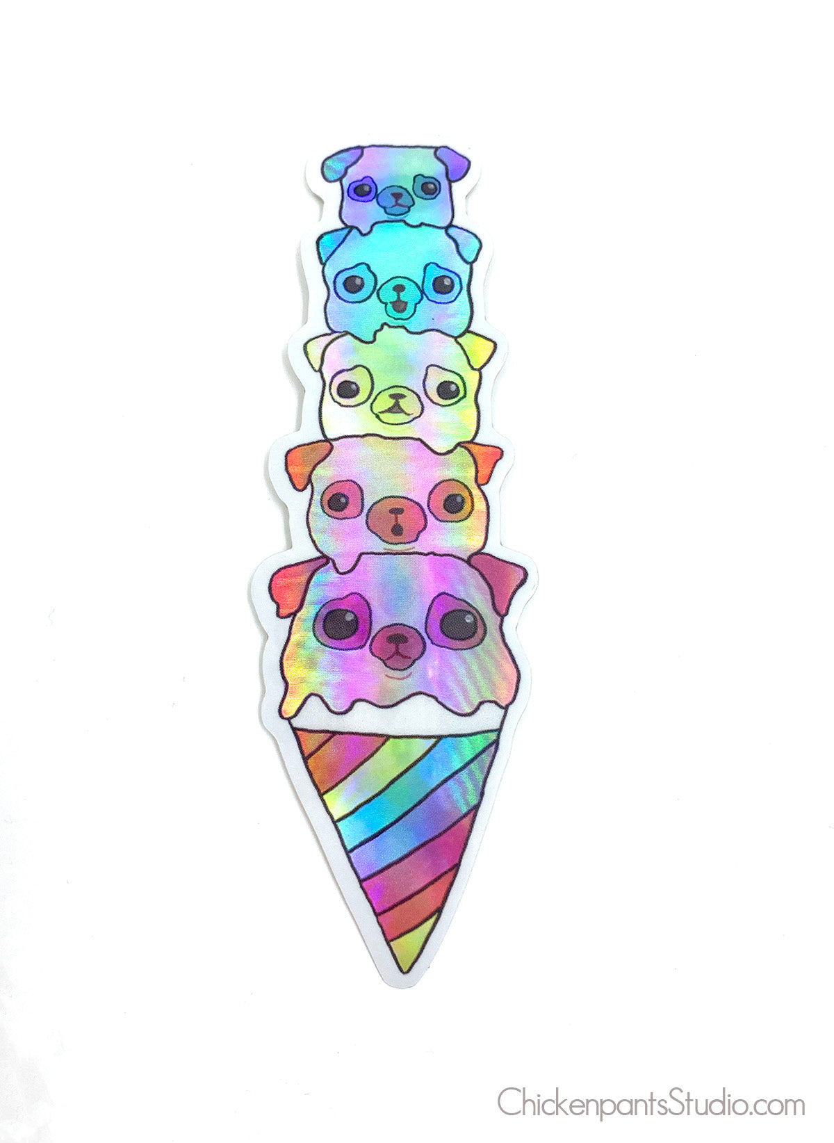 Ice Cream Cone Pugs Holographic Sticker