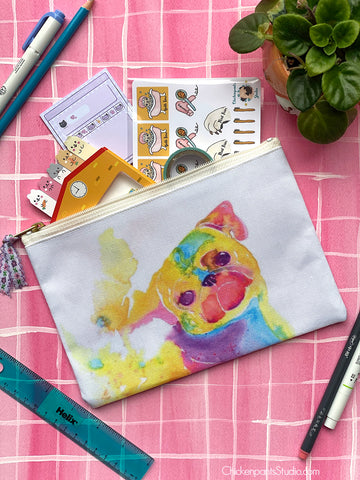 Rainbow Pug Zipper Pouch