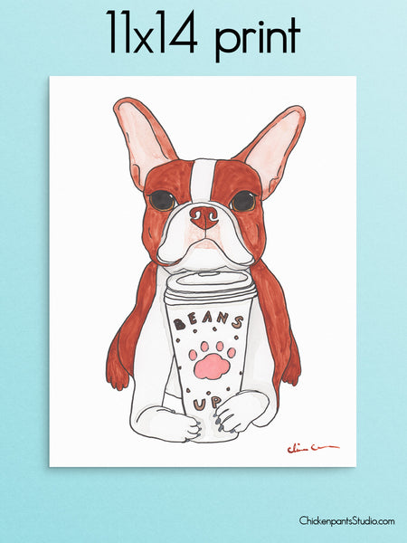 Beans Up Coffee - Red Boston Terrier Art Print