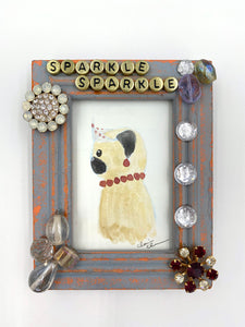 Sparkle Sparkle -  No. 11 of 12 Summer Miniature Paintings - Original Framed Pug Art