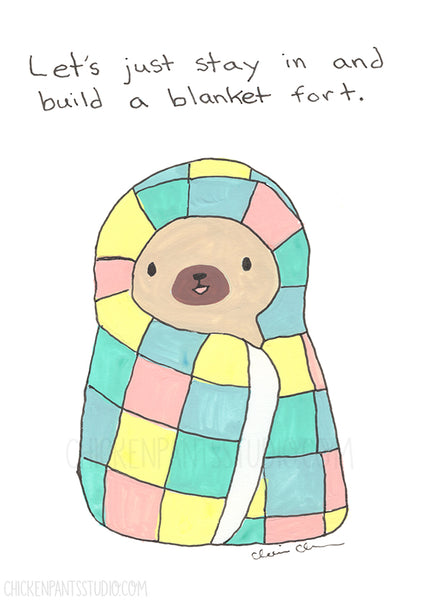 Let's Stay In And Build A Blanket Fort - Pug Greeting Card