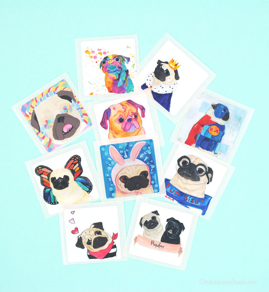 Square Pug Stickers - Pack of 10