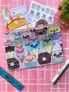Candy and Sweets Pugs Zipper Pouch