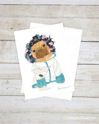 Mama's Tired - Pug Greeting Card