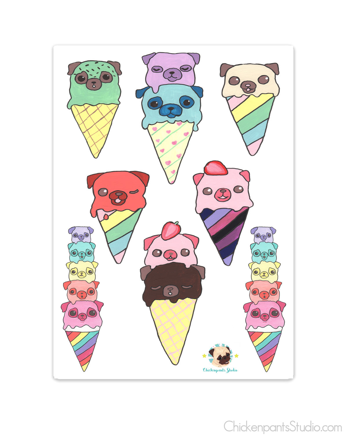 Ice Cream Pugs Transparent Sticker Sheet