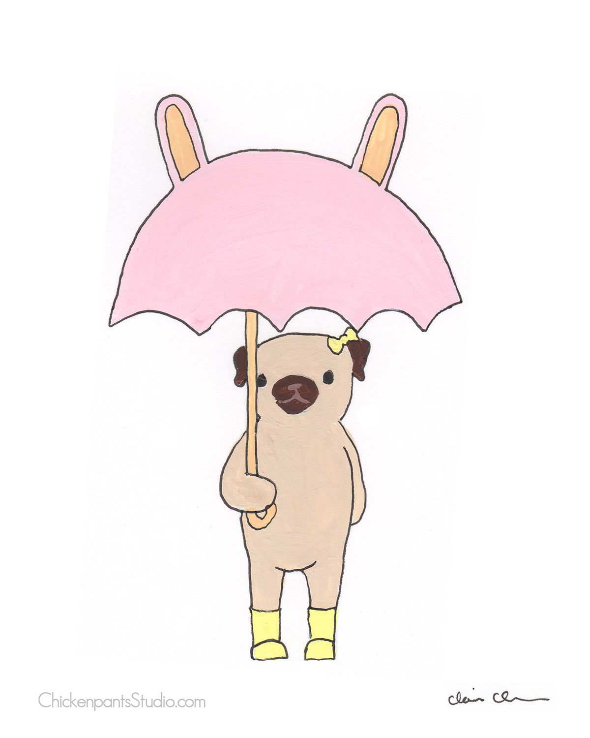 Bunny Umbrella - Pug Art Print