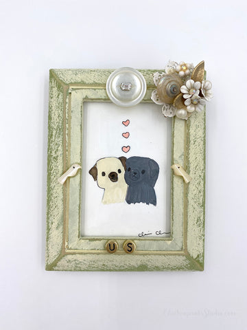 Us -  No. 10 of 12 Summer Miniature Paintings - Original Framed Pug Art