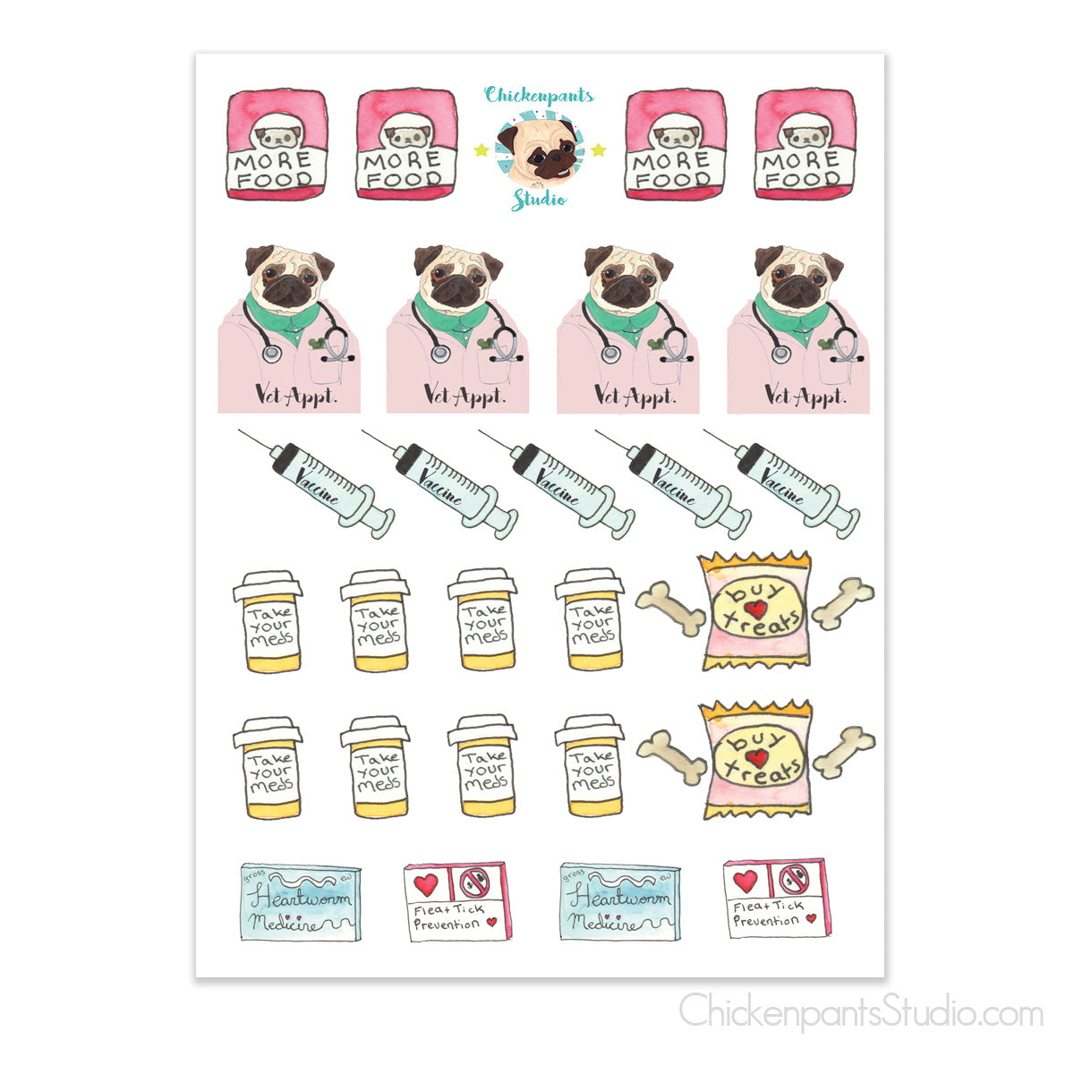 Vet & Pet Health Needs Planner Sticker Sheet