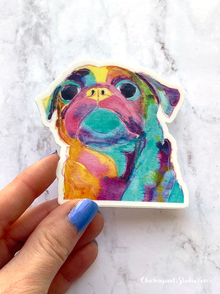 Watercolor Rainbow Pug Vinyl Sticker