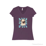 You Can Do It! General Encouragement Pug V-Neck Ladies T-shirt