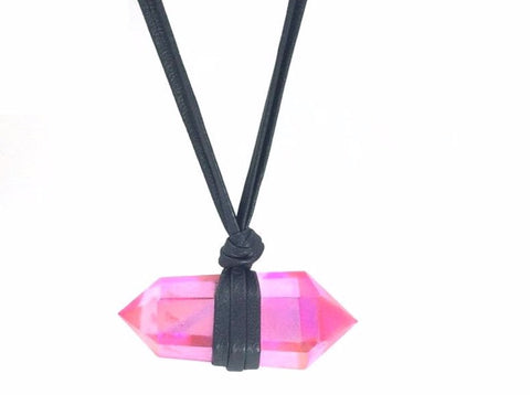 Aura Quartz Leather Necklace - Divine Schematic