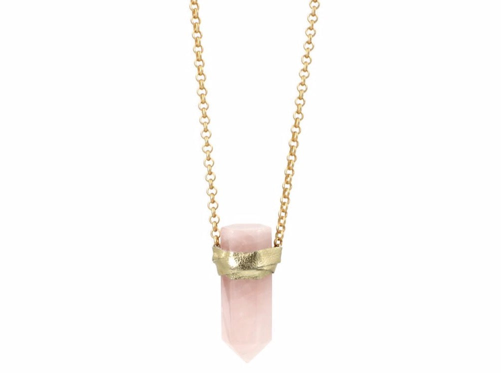 Ella Necklace Rose Quartz - Divine Schematic