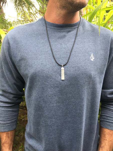 mens jewelry- selenite pendant on a black pvc chord necklace