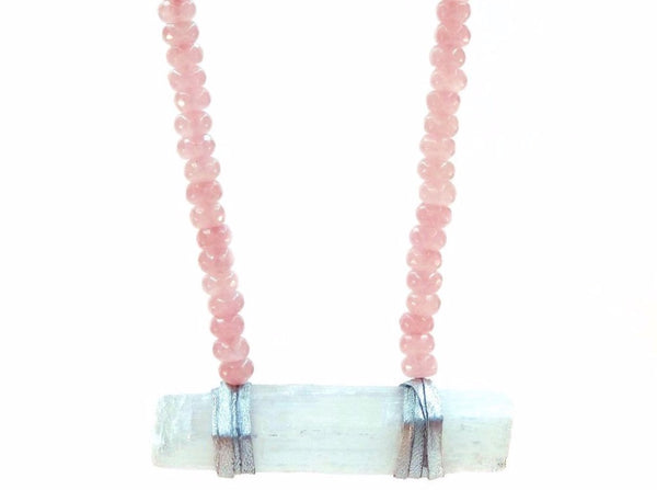 Selena Necklace Rose Quartz - Divine Schematic