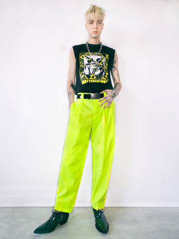 PLEATED TROUSER IN HV LIME
