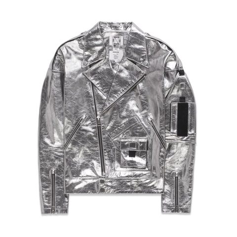 LEATHER PERFECTO JACKET IN SILVER
