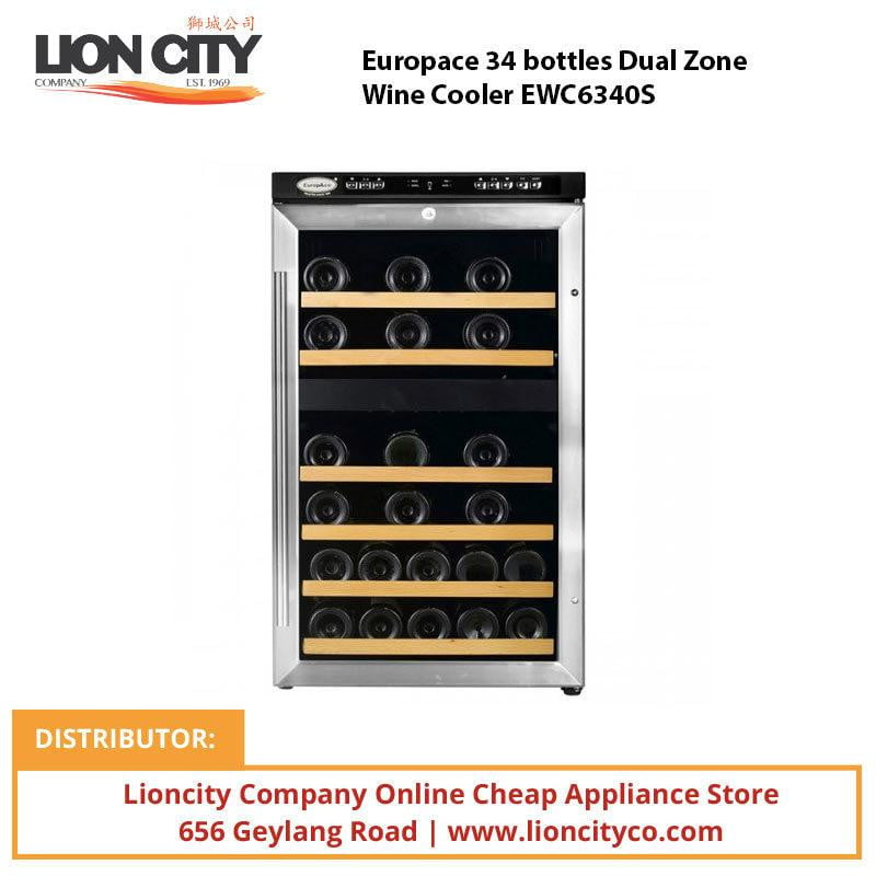 Europace 34 bottles Dual Zone Wine Cooler EWC6340S - Lion City Company