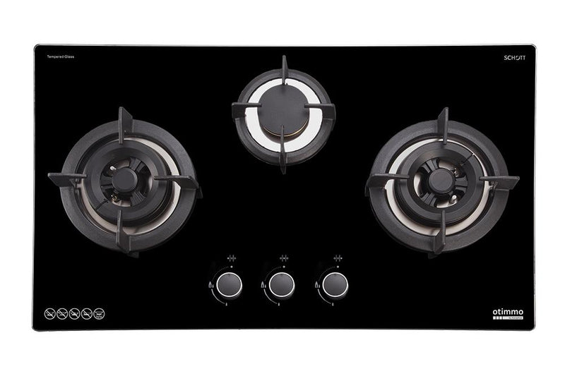 Europace ECH7111S Deluxe Curve Glass Chimney Hood + EBH3391U 3 Burners 90cm Slim Hob (S/Steel)