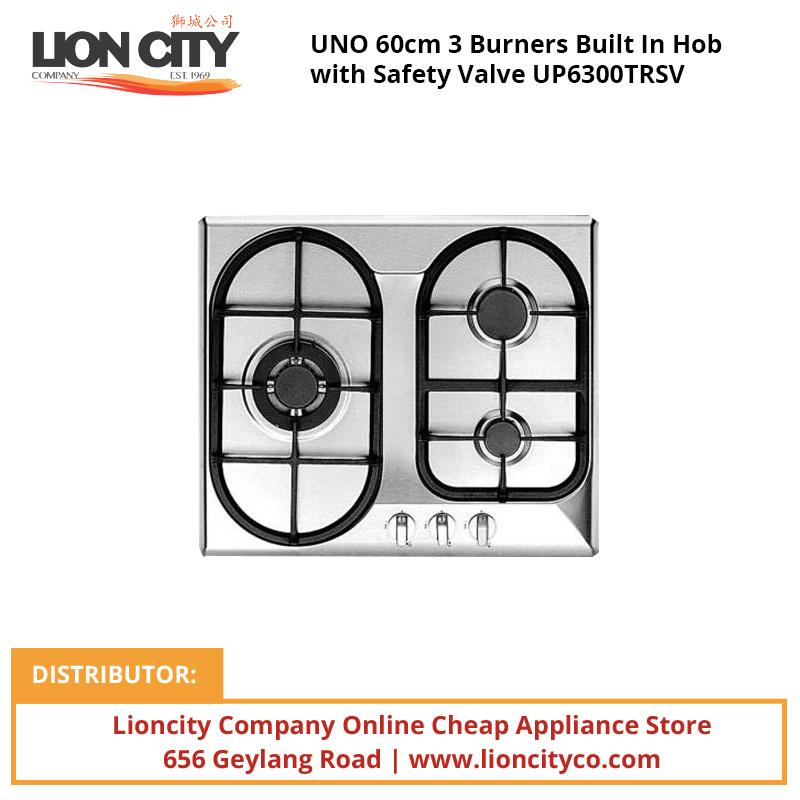 UNO 60cm 3 Burners Built In Hob with Safety Valve UP6300TRSV - Lion City Company