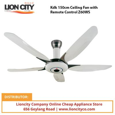 Kdk 150cm Ceiling Fan w/Remote Control Z60WS - Lion City Company