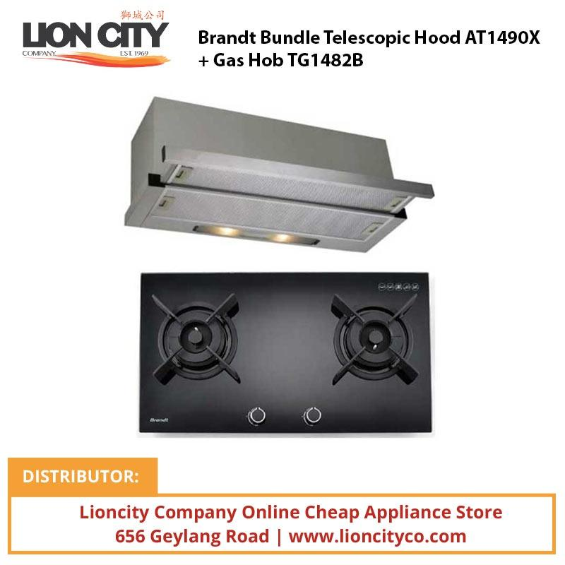 Brandt Bundle Telescopic Hood AT1490X + Gas Hob TG1482B - Lion City Company