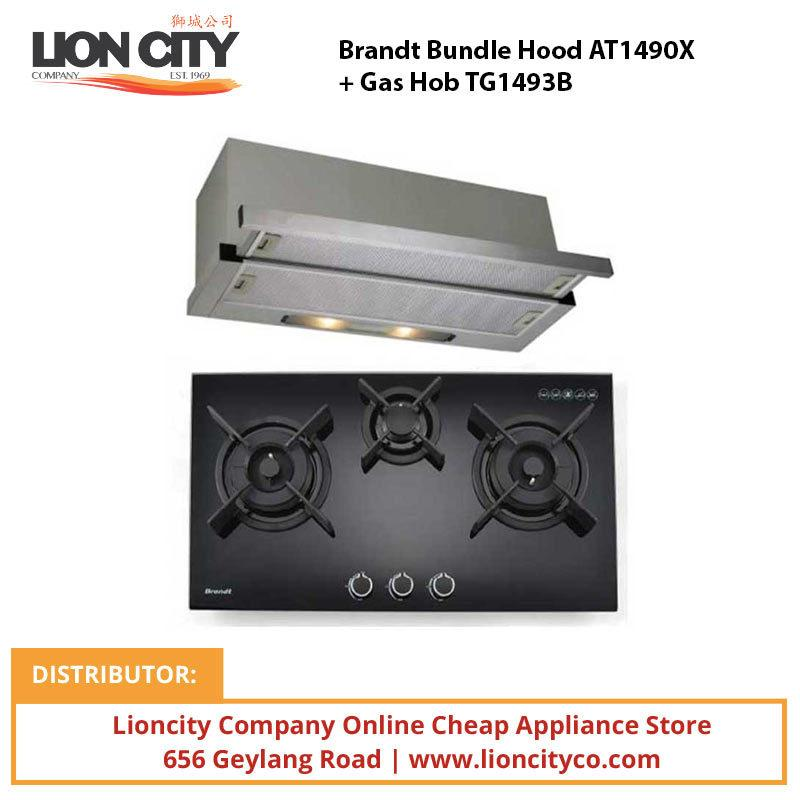 Brandt Bundle Hood AT1490X + Gas Hob TG1493B - Lion City Company