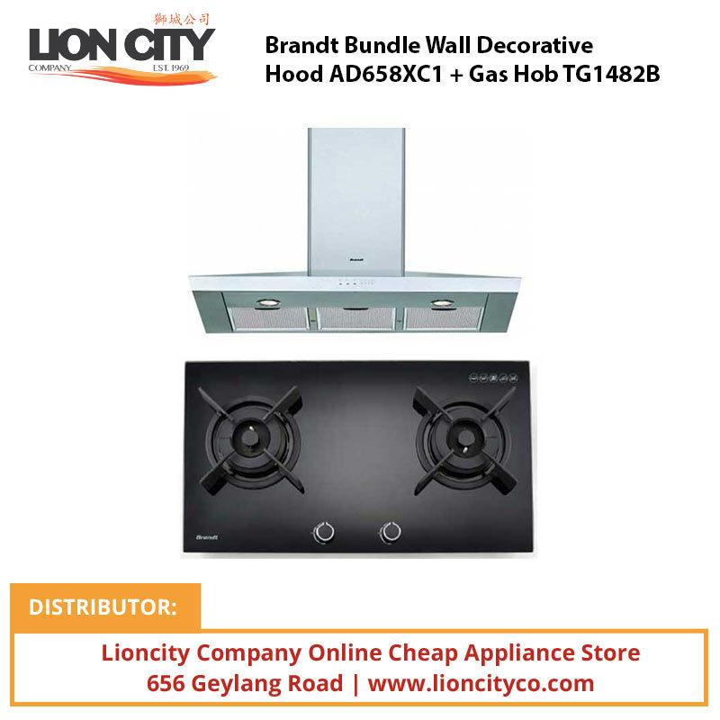 Brandt Bundle Wall Decorative Hood AD658XC1 + Gas Hob TG1482B - Lion City Company