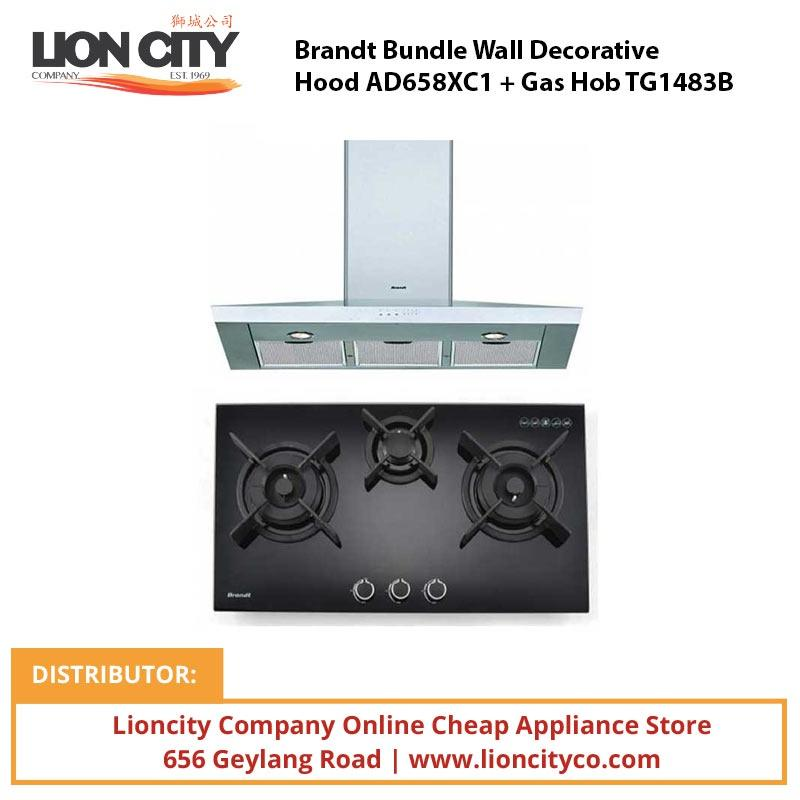 Brandt Bundle Wall Decorative Hood AD658XC1 + Gas Hob TG1483B - Lion City Company