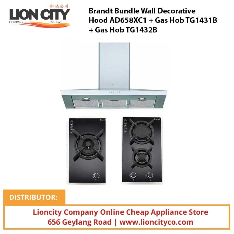 Brandt Bundle Wall Decorative Hood AD658XC1 + Gas Hob TG1431B + Gas Hob TG1432B - Lion City Company